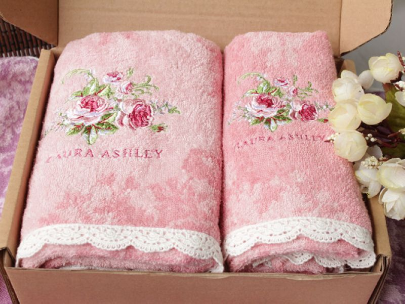 Greek Key Embroidered Bath Towels